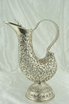 Sterling silver pitcher, crafted in India, early 20th century
