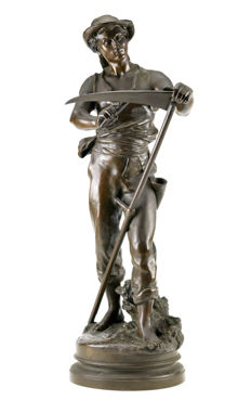 Mathurin Moreau (1822-1912) - large bronze sculpture 'The Harvester' - France - ca. 1870-1880