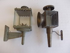 Old pair of lanterns for carriage, brass and wrought iron, England, early 1900s