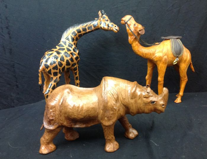 3 very decorative artificial leather models of African mammals Rhino, Giraffe and Dromedary