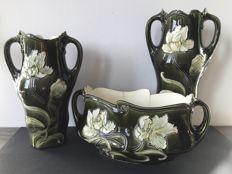 Manufacturer, Antoine Gustave De Bruyn - Art Nouveau ceramics, a set of two vases and receptacle for holding potted plants