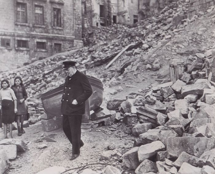Unknown - Winston Churchill visits bomb damage, Malta, 1943