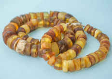 Baltic Amber set of necklace and bracelet, honey butterscotch egg yolk color, weight: 82 gram