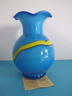 F&M Ballarin Murano - Blue & Yellow Colour Vase with certificate