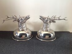 Two heavy silver-plated reindeer coupes
