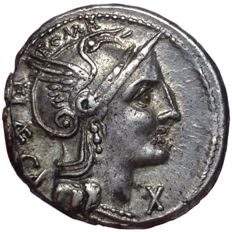 Roman Republic - P. Porcius Laeca - AR Denarius (19/18mm; 3,84g), Rome mint c. 110-109 BC - Head of Roma / Magistrate - Cr. 301/1; Syd. 571; BMCRR Italy 649