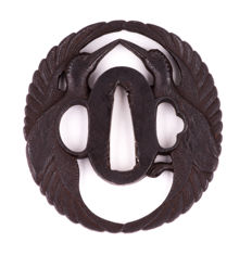 Iron sukashi tsuba decorated with two cranes, Tosa School, NBTHK Tokubetsu Kichio - Japan - 18th/19th century