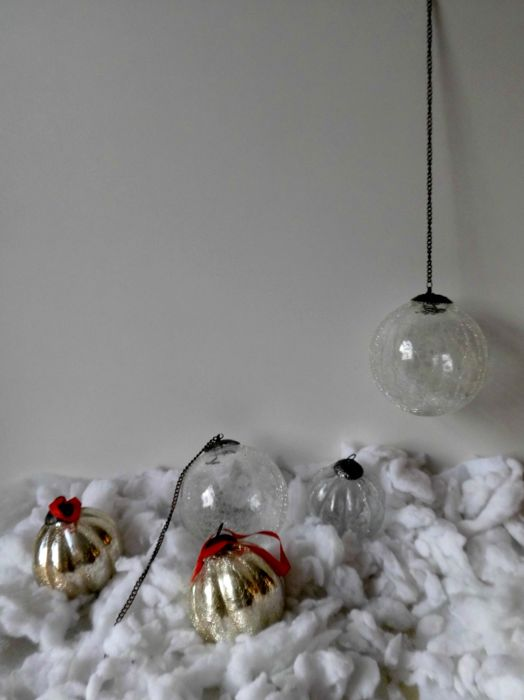 five large heavy glass christmas balls with copper crowns two with a long chain - Glass Christmas Balls