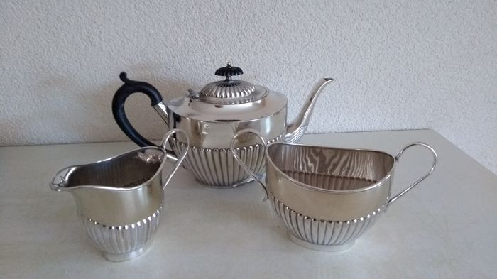 Silver plated English coffee set, ca 1900 Sheffield