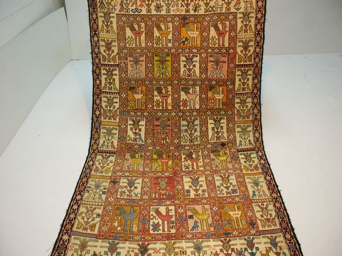 Hand-knotted original Persian silk carpet, oriental, Sumakh, kilim, approx. 184 x 115 cm fine knotting, new
