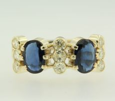 14 kt yellow gold ring with sapphire and diamond, ring size 18.25 (57)
