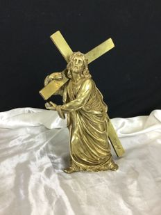 Jesus carrying his cross - bronze - signed Houlet - France - End 19th century