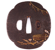 Iron tsuba Mokko, brass, copper and silver inlay - Japan - 18th/19th century