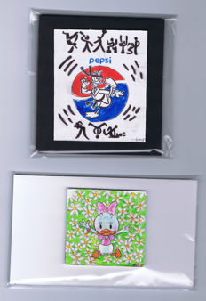 Fernandez, Toni - 2 original drawings  - Donald inspired by Pepsi + Daisy inspired by Hello Kitty - (2015)