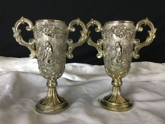 Pair of golden Zamak regulus church vases, early 20th centurry
