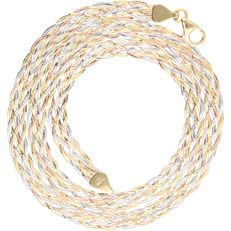 18 kt - Tri-colour yellow/white/rose gold necklace - length: 45 cm