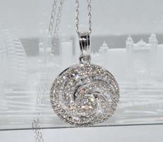 Necklace and pendant in 18 kt white gold set with 187 diamonds for around 4.80 ct ***NO RESERVE PRICE***