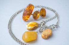 Vintage set of Natural Baltic Amber necklace, ring and earrings, butterscotch, egg yolk, cognac color Amber