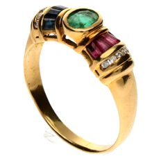 18 kt Yellow gold ring set with emerald, sapphire, ruby and brilliant cut diamond - Size 17 3/4