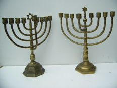2 heavy Menorah candlesticks - Mid 20th century