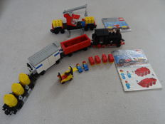 Trains 12V - 7730 + 7817 - Electric Goods Train Set + Crane Waggon
