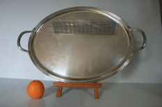 Christofle, very large serving tray with handles, 62 x 42 cm (Silver Plated Metal)