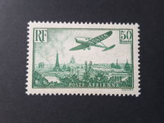 France 1936 – Air Mail stamps, plane flying over Paris 50f. Green-yellow – Yvert Airmail no. 14 signed Calves with certificate.