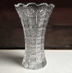 Bohemian glass - cut crystal vase