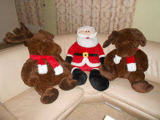 Three very large Christmas cuddly toys