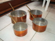 "Four copper cooking pots made in Belgium ""ALPHA"""