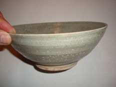 A Chinese light grey celadon bowl  -  196 mm x 75 mm