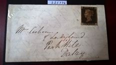 Great Britain 1840 - 1d black Plate III on a cover