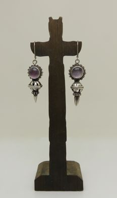 "Long antique ""pale Lilac Amethyst"" drop earrings - Sterling silver -  NO reserve"