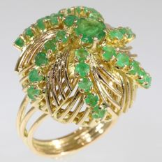 Vintage Fifties Cocktail Ring, model Sea Mine, set with Emeralds, circa 1950
