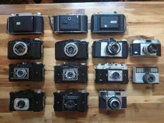 Lot of 14 old cameras (1937 - 1965) - FLASH REVUE 1000l