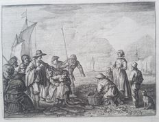 Adrian van de Venne (1589-1662) - Fishery scene with an Eskimo, Chinese, Russian and Dutch fisherman at Dutch coast - c. 1620