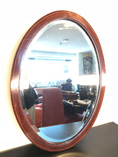 Large antique Biedermeier style mahogany facet cut mirror - early 20th century