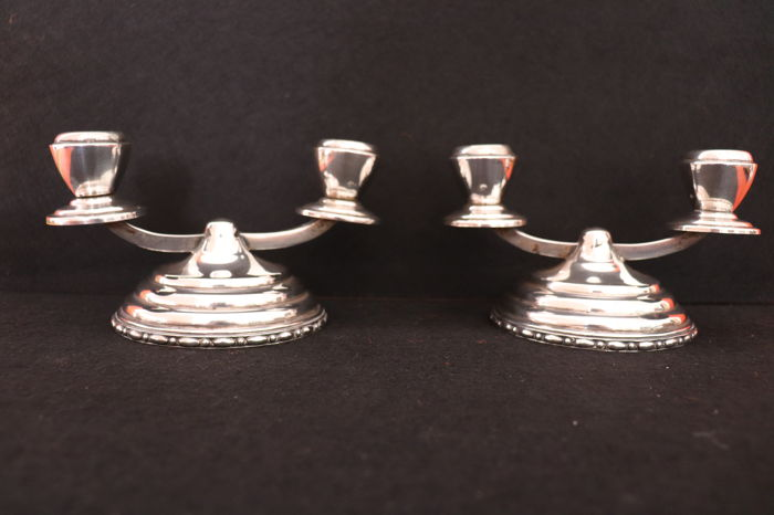 Pair of silver candlesticks pair - eagle mark - Portugal 1930/1940
