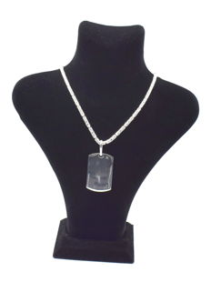 925 Italian sterling silver chain with Tag pendant - 60 cm