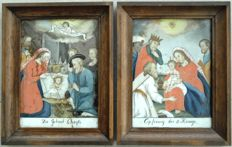 "A pair of églomisés, ""Birth of Christ"" and ""Adoration of the Magi"" - Germany - circa 1800"