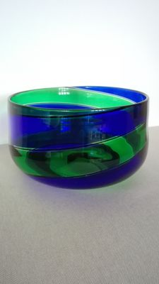 Murano - Bowl with blue and green spirals
