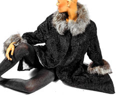 Dream-like Persian broadtail lamb fur, fur coat with silver fox fur and new lining