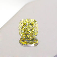 Natural Fancy Light Yellow 2.61 ct Cushion VS1 Diamond, GIA Certified
