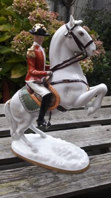 Gerold porcelain Tettau Bavaria - Prussian officer on horse