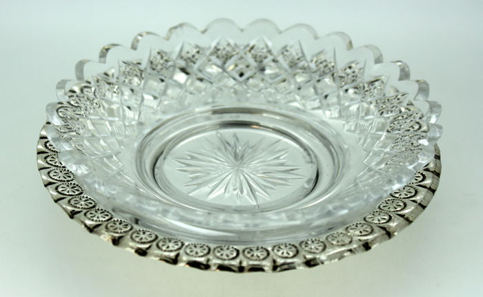 Vintage Glass and & Silver Plate Butter Dish With Decorative Engravings, C.1940 for sale