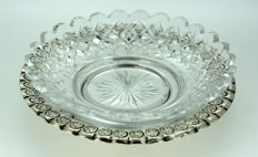 Vintage Glass and & Silver Plate Butter Dish With Decorative Engravings, C.1940