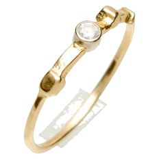 14 kt Yellow Gold Solitaire Ring set with Brilliant - Size 18