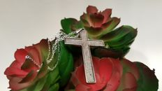 Iron muonionalusta pendant in the shape of a Christian cross with Sterling Silver chain.
