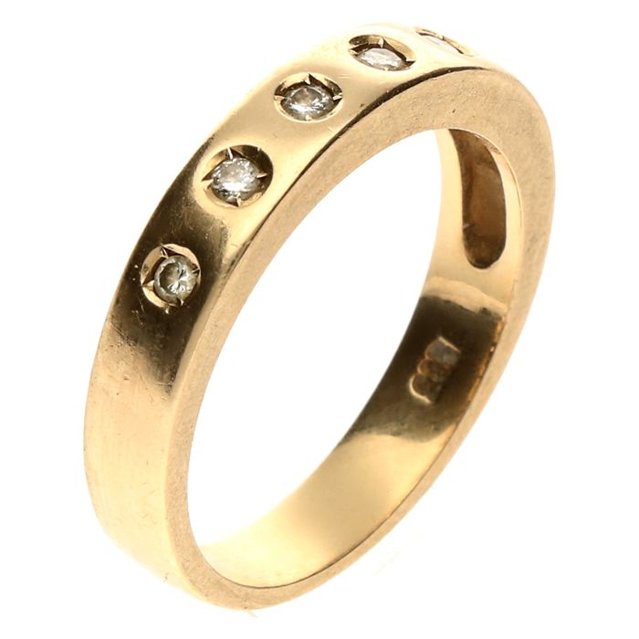 14 kt yellow gold ring fantasy ring set with brilliant 0.11 ct - Size 17