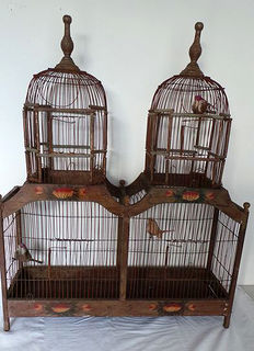 Antique double wooden bird cage, early 20th century